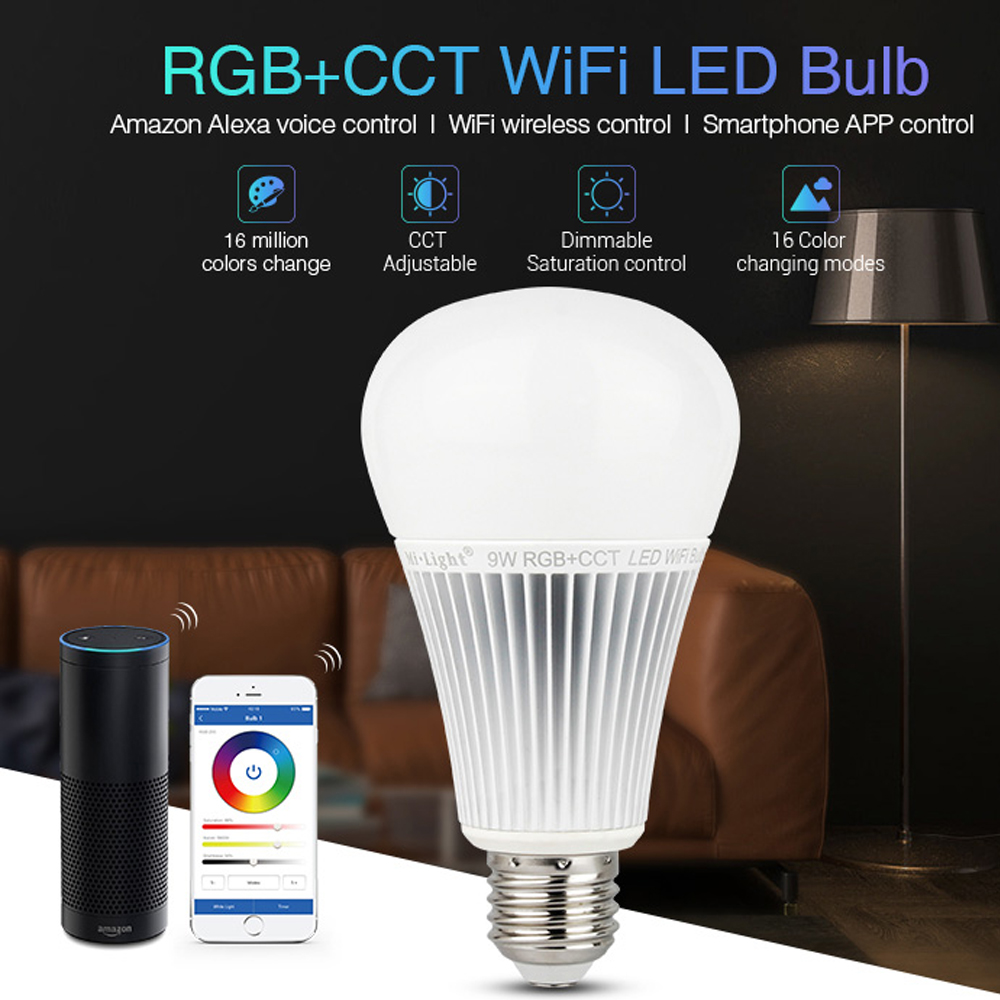 WIFI RGB CCT RGBW LED Bulb lamp 9W E27 Dimmable LED Light AC 110V 220V amazon alexa Multicolor bulb spotlight milight dimmable gu10 led milight 4w ac 110v 220v 85 265v mi light led bulb lamp rgbw rgbww spotlight 2 4g wifi remote controller