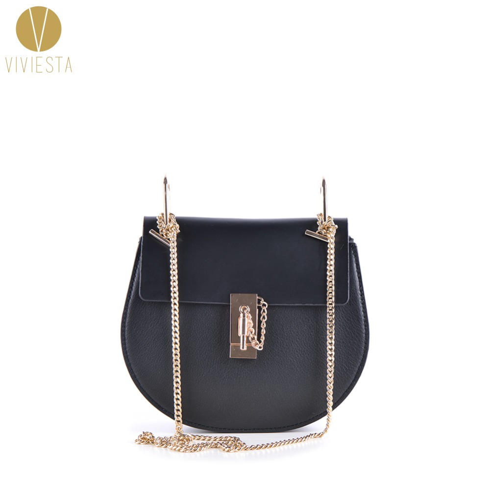 GENUINE REAL LEATHER CHAIN LOCK SADDLE BAG - Women s 2018 Luxury Fashion  Brand Top Quality Cowhide f45a5800301f0