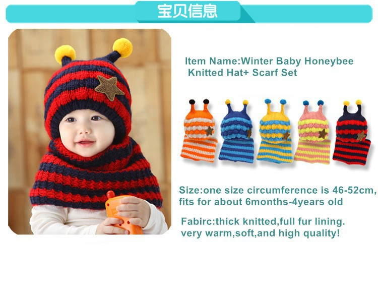 d1f0df64117e Hot New Cute Honeybee Winter Baby Crochet Hat and Scarf Set Kids ...