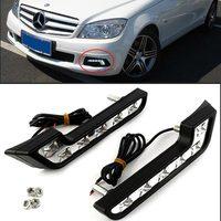 Free Shipping Brand New 6 LED MERCEDES L Shape DRL Daytime Running Lights Kit Lamp Fog