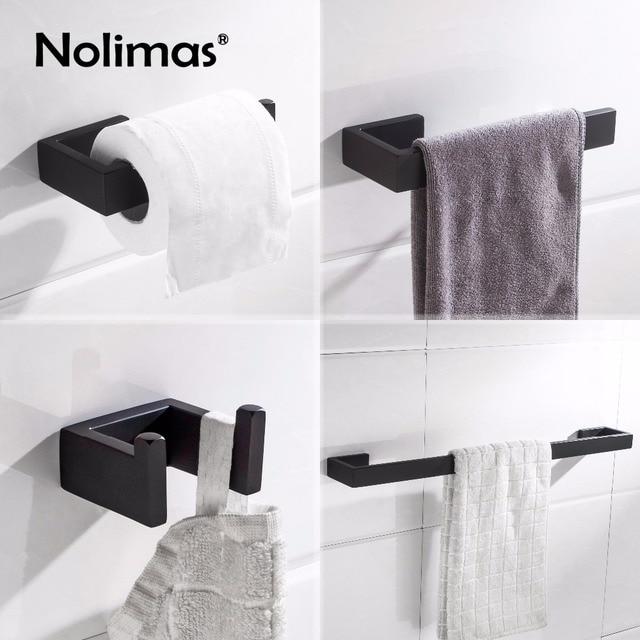 Matte Black Sus 304 Stainless Steel Bathroom Hardware Set Robe Hook Towel Bar Toilet Paper Holder