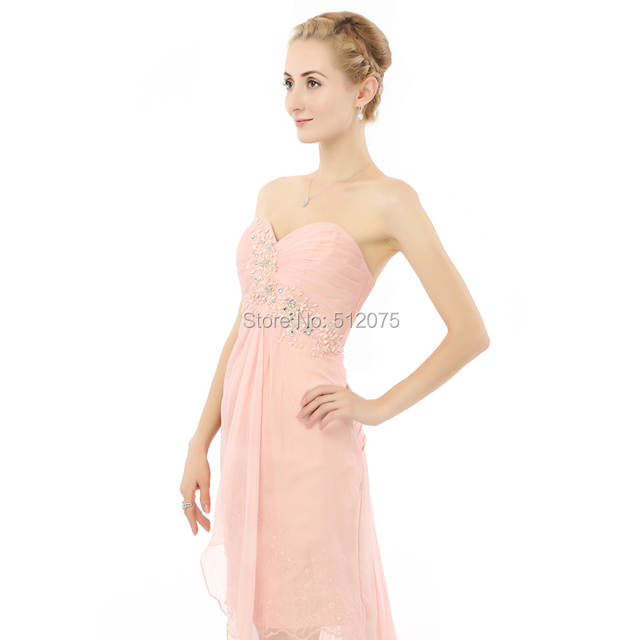 045cb9de12678 Robe De Cocktail Chiffon Beaded A Line Sweetheart Split Backless Pink  Formal Maternity Prom Dresses Lily Collins z82705