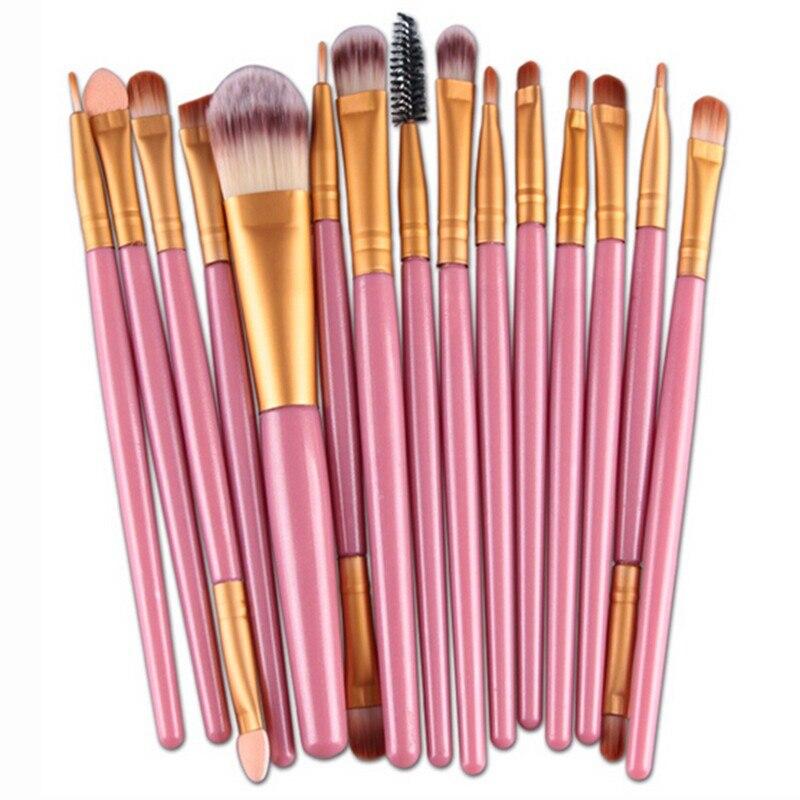 15 db kozmetikai smink ecset Női Alapítvány Szemhéjfesték szemhéjpúder ajakgyártó smink ecsetkészlet 4 színben