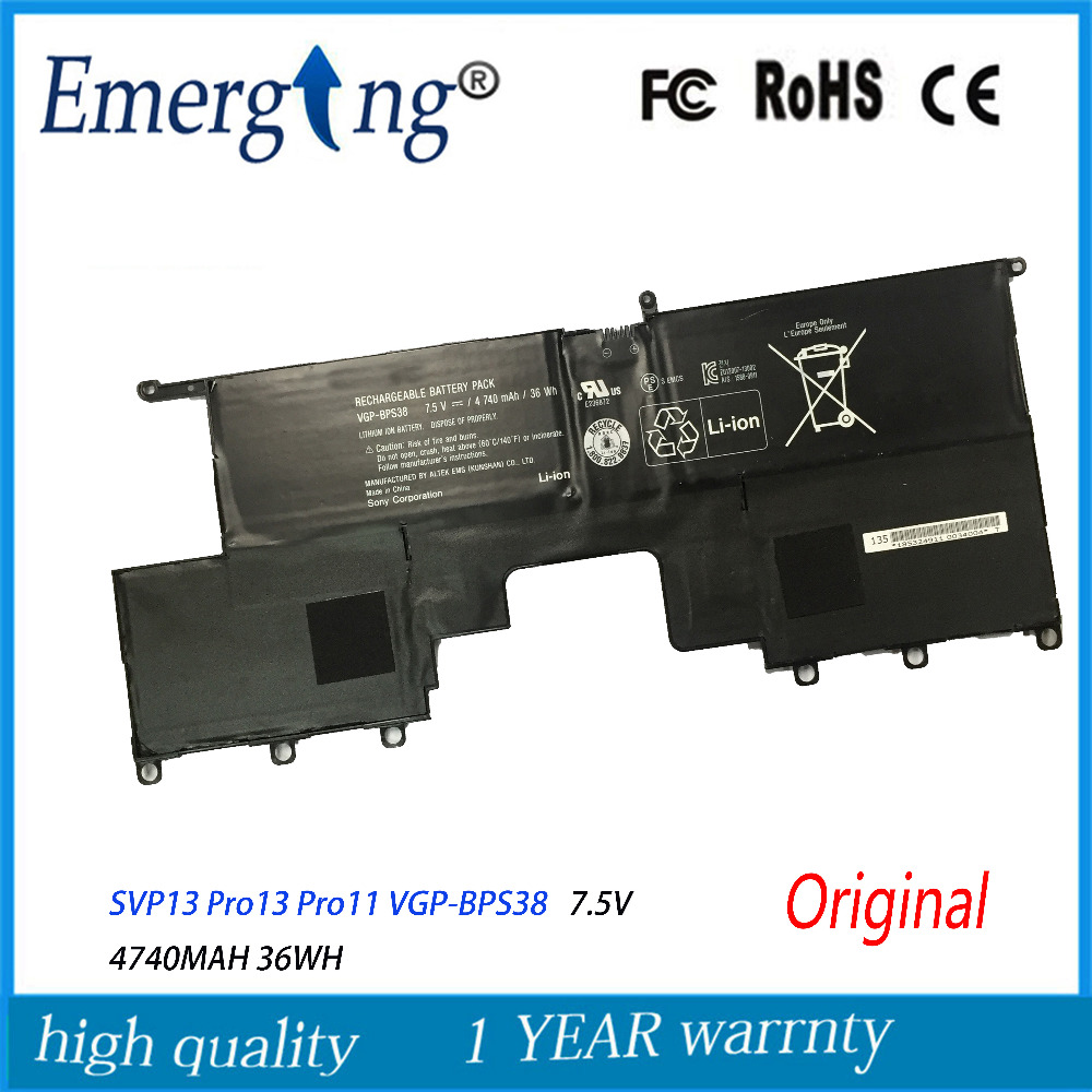 7.5V 36WH New Original Laptop Battery For SONY SVP13 Pro13 Pro11 VGP-BPS38 new for sony vaio pro 13 pro13 svp13 svp13a svp132 svp1321 svp132a bottom cover rubber feet silver parts for d shell