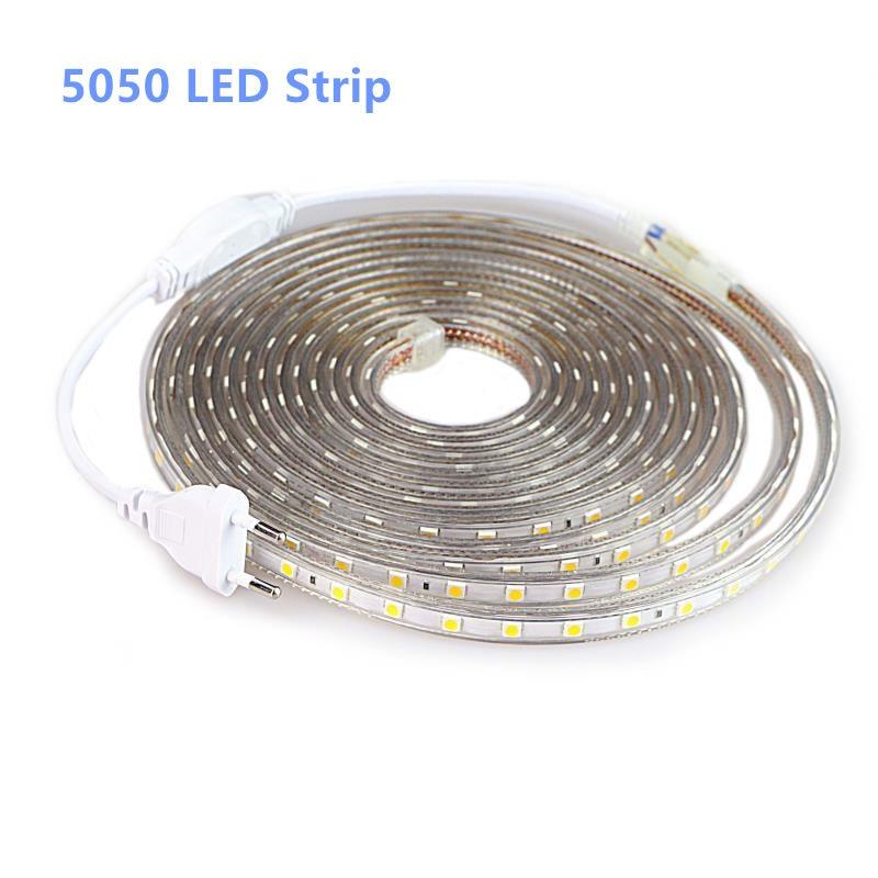 SMD 5050 AC 220V LED Strip Outdoor Waterproof 220V 5050 220 V LED Strip 220V SMD 5050 LED Strip Light 1M 2M 5M 10M 20M 25M 220V 1