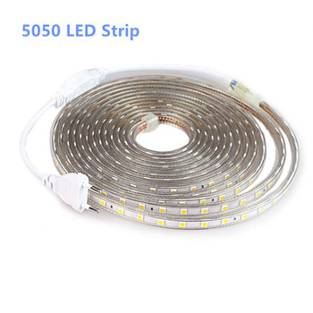 SMD 5050 AC 220V LED Strip Outdoor Waterproof 220V 5050 220 V LED Strip 220V SMD 5050 LED Strip Light 1M 2M 5M 10M 20M 25M 220V 1