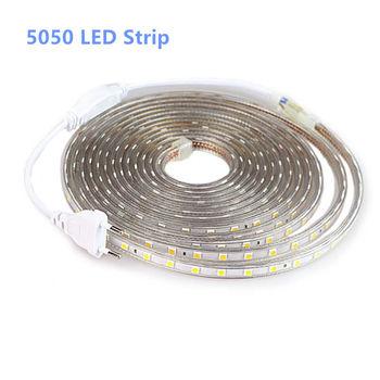 цена на SMD 5050 AC 220V LED Strip Outdoor Waterproof 220V 5050 220 V LED Strip 220V SMD 5050 LED Strip Light 1M 2M 5M 10M 20M 25M 220V