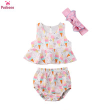 Toddler Infant Newborn 3 Pieces Baby Girl Clothes Set Print Ice Cream Pattern Tops and Shorts Briefs Headband Outfit(China)