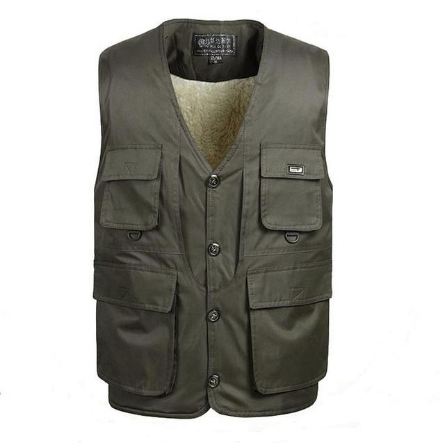 Middle-aged Plus Size L-3XL Man Lambs wool lining Vest Jacket Autumn&Winter Warm Thicken Gilet  Plus Jacket Coat vests For Male