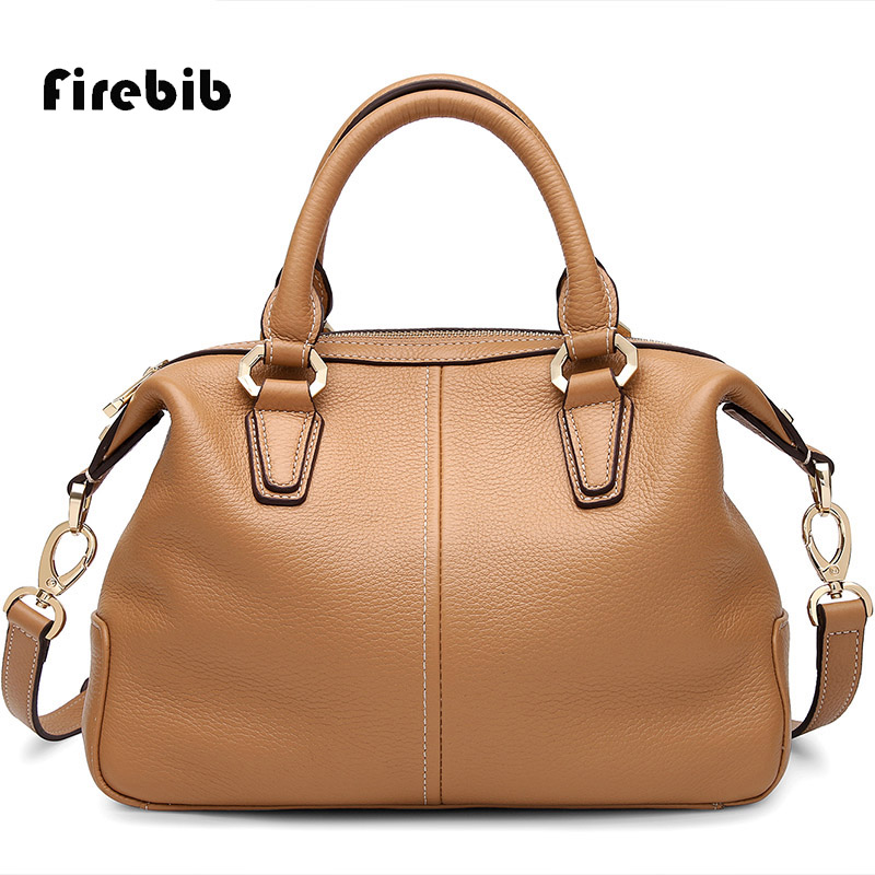 FireBib Brand Women's Cow Leather Handbags Female Shoulder bag designer Luxury Lady Tote Large Capacity Zipper Handbag for Women brand designer large capacity ladies brown black beige casual tote shoulder bag handbags for women lady female bolsa feminina