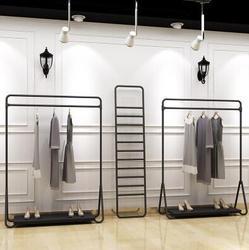 Porte-vêtements à suspendre pour magasin de vêtements | Porte-vêtements, cintres montés sur le sol, cadre d'île en fer forgé, étagère en fer noir