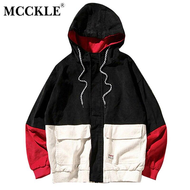 MCCKLE 2018 Primavera do Bloco da Cor Patchwork de Veludo Com Capuz Jaquetas Homens Hip Hop Streetwear Hoodies Casacos Masculinos Casuais Outerwear