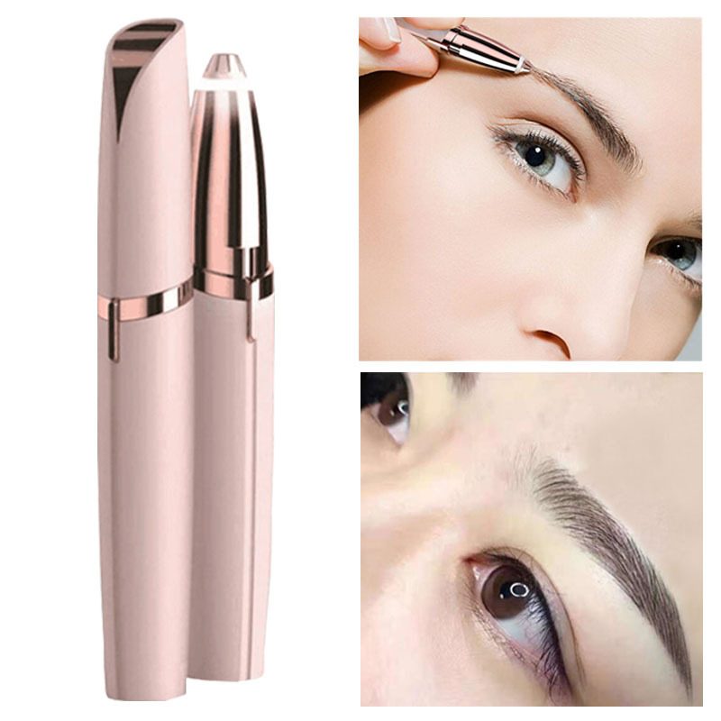 Hot Mini Electric Eyebrow Trimmer Brows Pen Hair Remover Painless Multifunction Lipstick Eye Brow Razor Epilator With LED Light
