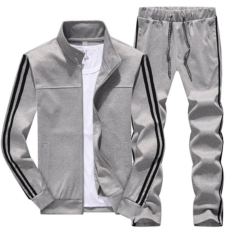 Hommes décontracté és printemps survêtement mâle sweat à manches longues pantalon lettre vêtements de sport décontractés costumes hommes ensemble veste patchwork - 3