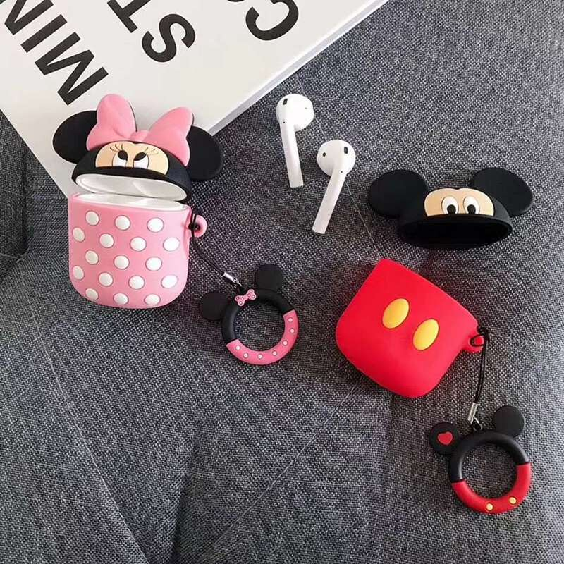 3D Cartoon Silicone Earphone Case For Airpods 2 Case Cute Lanyard Cover For Apple Air Pods 2 For Earpods Cartoon Bear Case