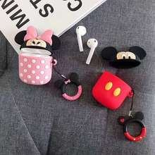 3D Cartoon Silicone Earphone Case For Airpods 2 Case Cute Lanyard Cover For Apple Air pods 2 For