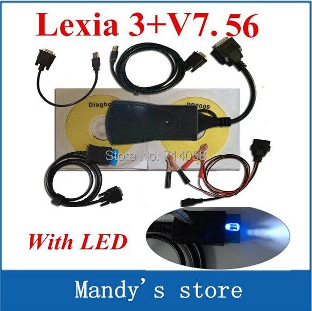 Цена за Продвижение Недавно diagbox V7.56 со СВЕТОДИОДНОЙ кабель Профессиональный Диагностический Инструмент PP2000 Lexia 3 оригинал V47 Lexia3 pp2000