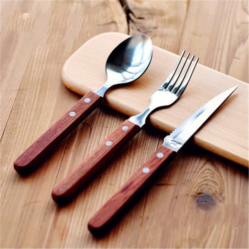 Online get cheap wood handle flatware alibaba group - Flatware with wooden handles ...