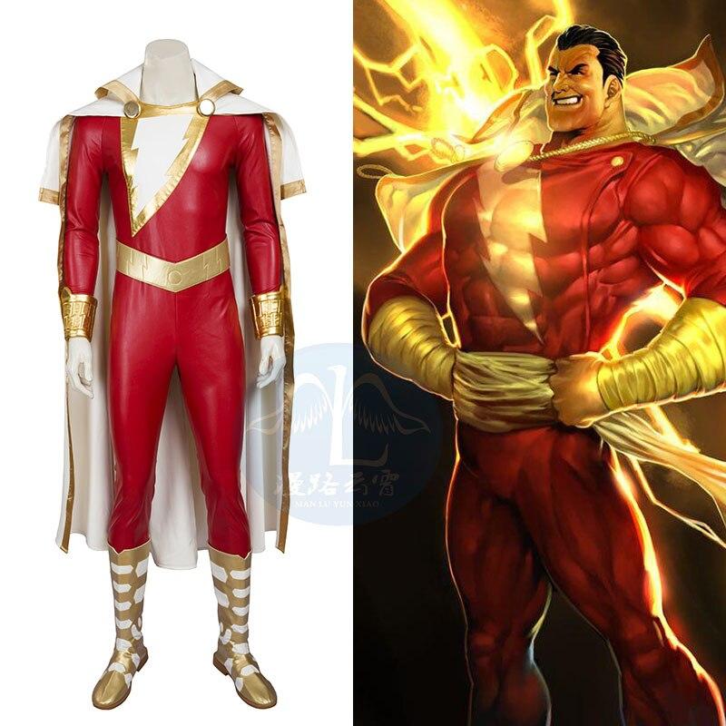 Justice League Super Hero Comic Captain Marvel Shazam Bodysuit Full Set Shoes