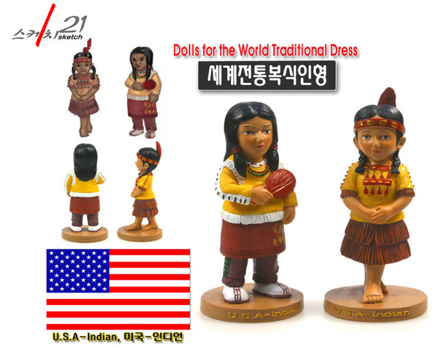 USA 2pc Set Indian Costume Dolls Special Home Room Table Ornament Birthday Gift