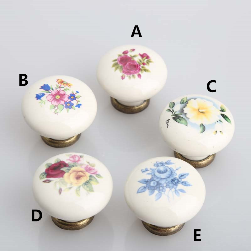 flower drawer cabinet knobs pulls bronze dresser pulls Rustico rural ceramic furniture decoration  knobs handles Vintage pulls scarlett sc ek18p30 white green чайник