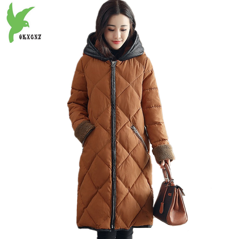 New Women Winter Jacket Coats Down cotton Parkas Plus size Hooded Flocking Cotton Jackets Thick Warm Loose Outerwear OKXGNZ 1244 middle aged women winter cotton jackets thick warm parkas plus size mother cotton coats hooded fur collar outerwear okxgnz a1238