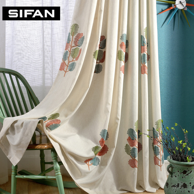 Embroidered Wishing Tree Faux Linen Curtains For The Bedroom Windows D Fabric Living Room