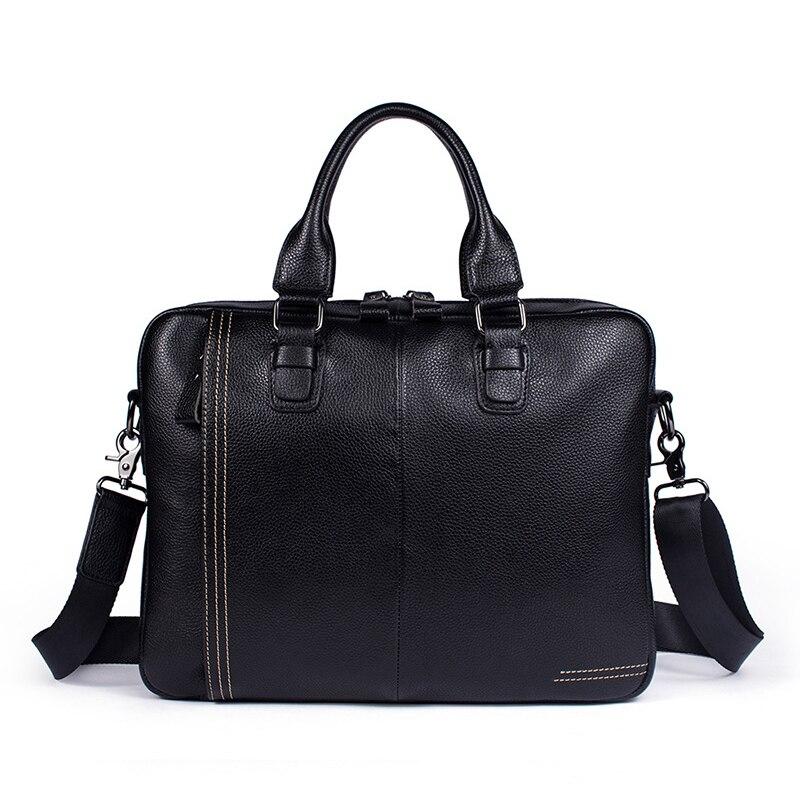 NEW Fashion Black Satchels Real Cow Leather Messenger Bags Male Businessman Handbags Men Genuine Leather Shoulder Bags (MLT8122)