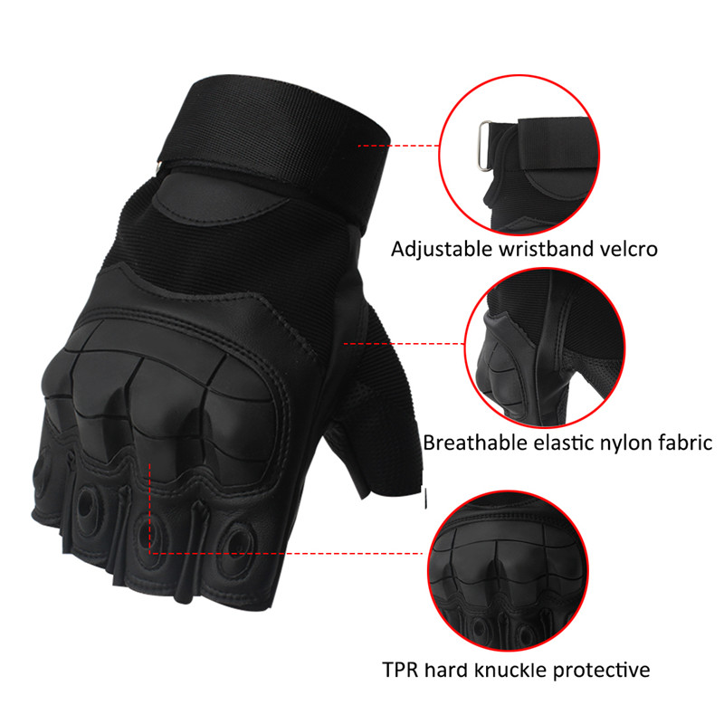Image 3 - Leather Half Finger Hard Knuckle Summer Motorcycle Gloves Outdoor Sports Motorbike Motocross Moto AVT Biker Riding Tactical-in Gloves from Automobiles & Motorcycles