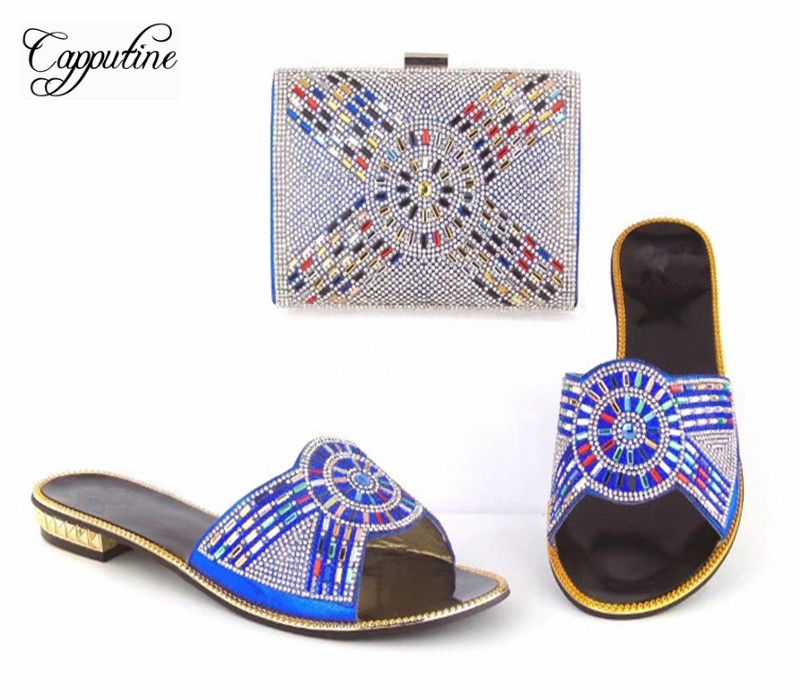Capputine Summer Style Africa Low Heels Woman Shoes And Bag Fashion Slipper Shoes And Purse Set For Party Size 38-42 TX-8210 capputine new arrival fashion shoes and bag set high quality italian style woman high heels shoes and bags set for wedding party