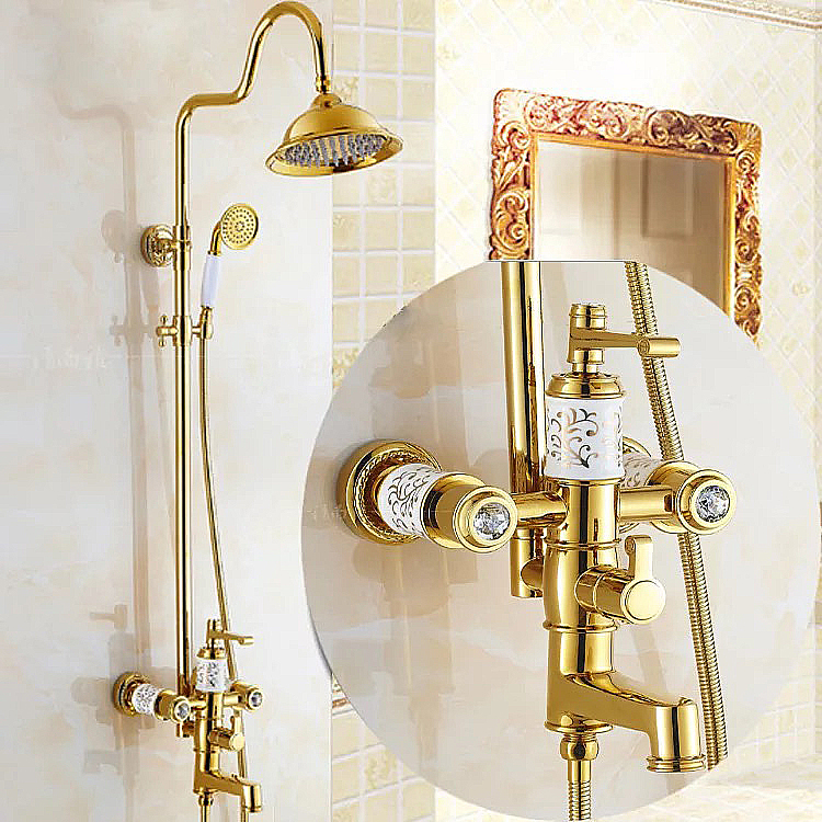 Gold Plated Diamond Shower Faucet