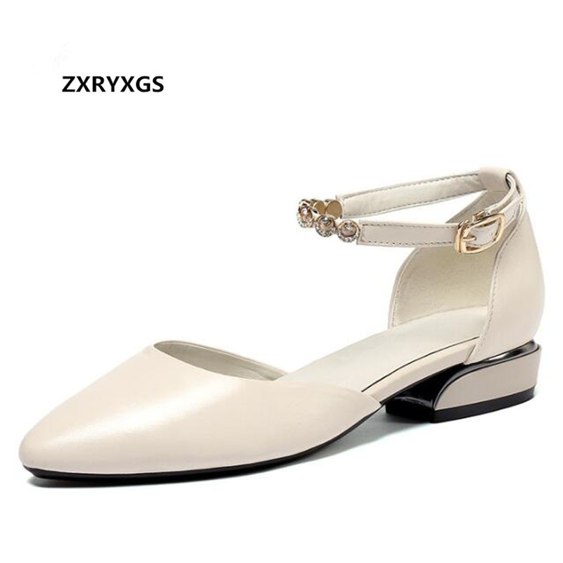 ZXRYXGS Brand Shoes Woman Sandals Pointed Rhinestone Genuine Leather Sandals 2018 New Summer Fashion Casual Shoes