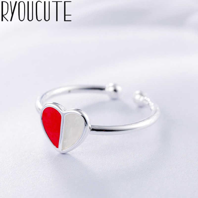 แฟชั่นหัวใจสีชมพูแหวนเงินแท้ 925 สำหรับเครื่องประดับงานแต่งงานของผู้หญิง Punk Retro โบราณปรับขนาดนิ้วมือแหวน