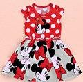 Venda quente Retail meninas dos desenhos animados Minnie vestido 2015 Nova moda vestidos de festa de verão Crianças roupas casuais menina mickey vestido dot