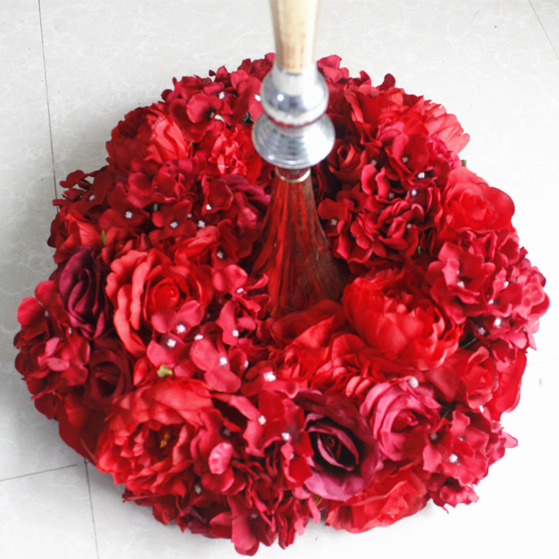 SPR 2018 10pcs lot red serial wedding table flowers centerpiece wreath candelstick decorative flower balls wedding