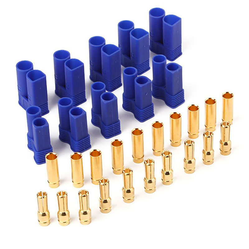 5set EC5 Male Female Gold Plated Pins Connector Plug 5mm Bullet + Sheath  High Quality hd 007 surface mounting silver plated surface crimp terminal current 10a male female 250v 7 pins connector