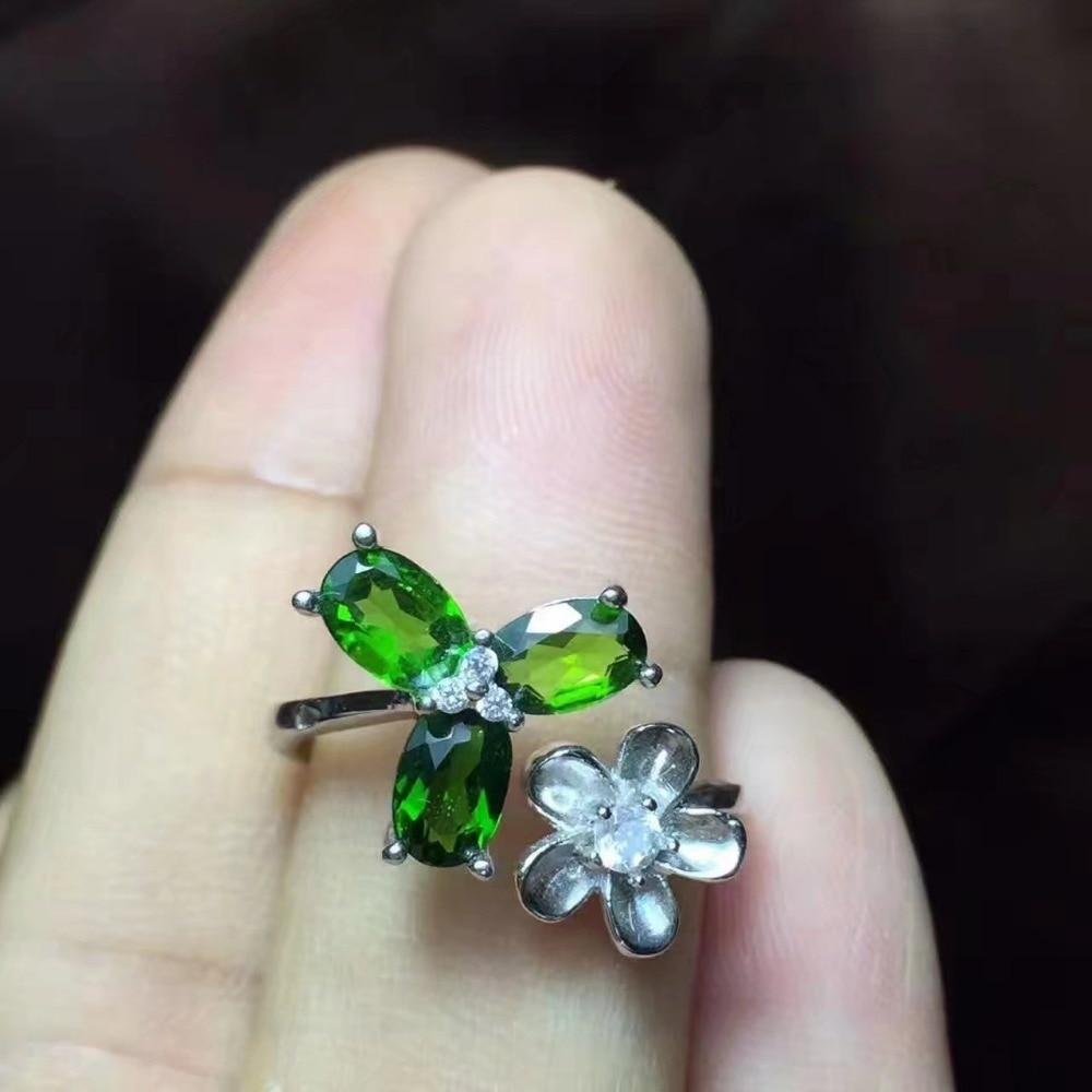 925 Silver natuarl Diopside ringar flicka mode smycken silver 925 - Fina smycken