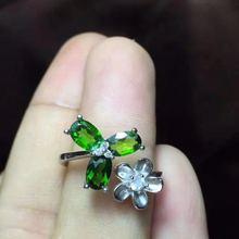 925 серебро natuarl кольца с диопсидом для девочек модные ювелирные