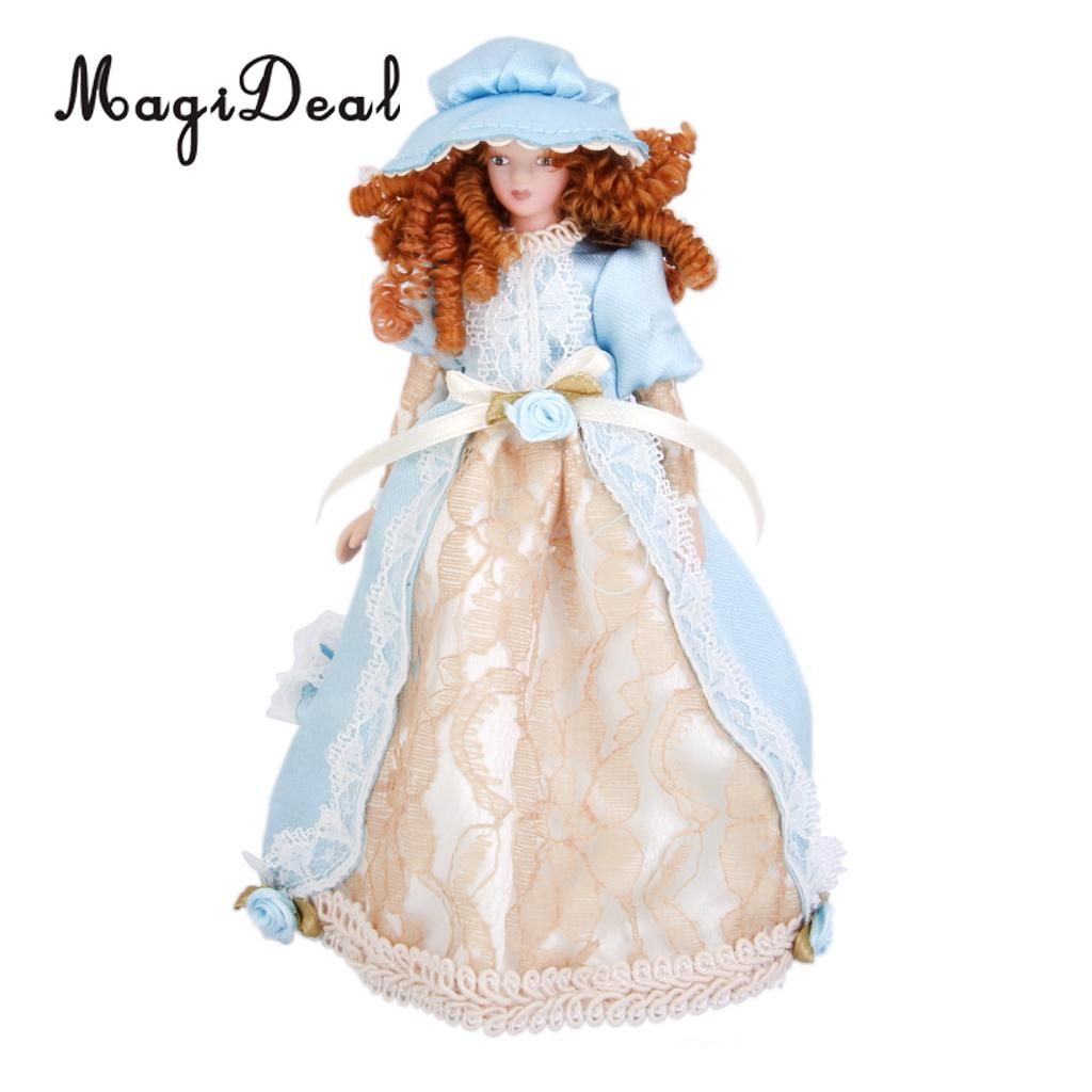MagiDeal 1Pc Dollhouse Miniature Porcelain Dolls Lady in Dress & Hat w/ Stand for Bedroom Living Room Display Children Toy Gift 1