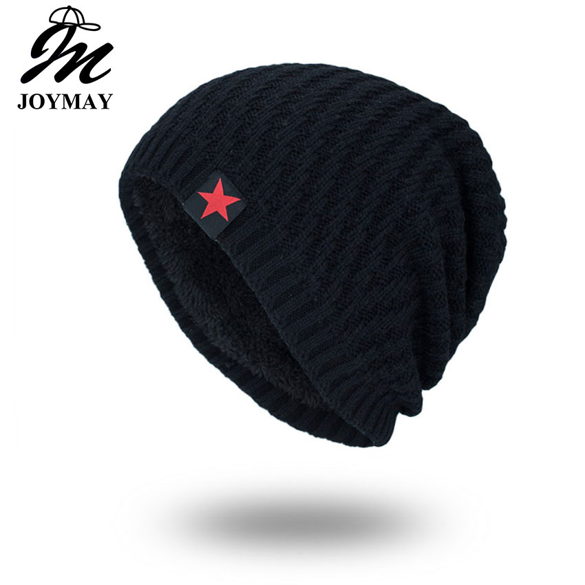 Joymay 2017 Brand New Winter Autumn Beanies Hat Unisex Warm Soft Skull Knitting Cap Hats Star Caps For Men Women WM061 the new 2016 han edition affixed cloth wave cap hat hat tip to keep warm letter knitting hat qiu dong men and women