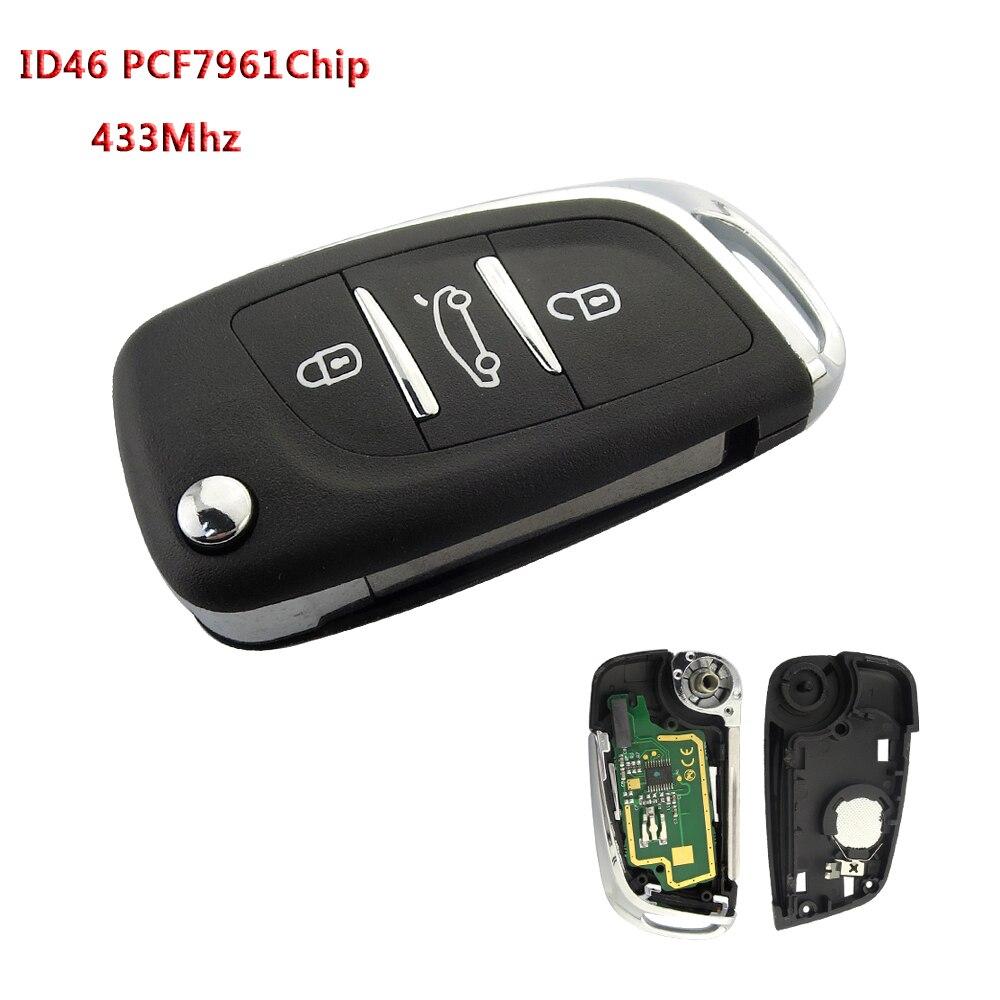 2 Botones Automobile Locksmith Funda con Tapa para Llave de Coche para Citroen C3 DS3