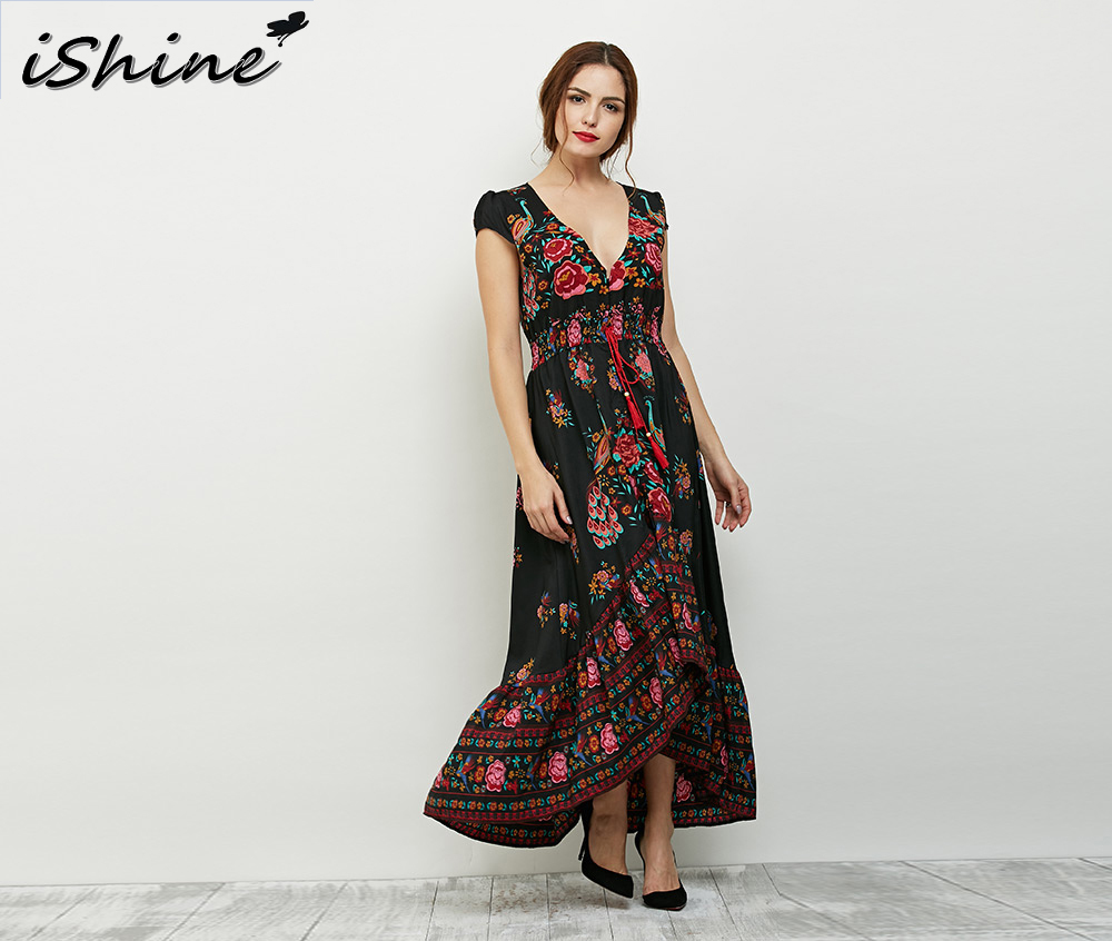iShine Summer vintage ethnic v neck floral print long maxi dress side split elegant ladies sexy beach boho dress vestidos longo
