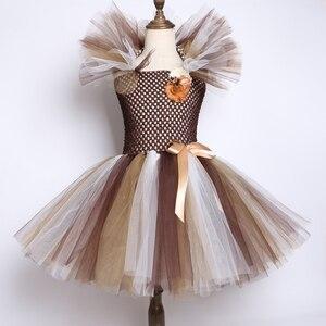 Image 2 - Vestido con tutú de Melena y León salvaje para niñas tutú de flores marrones para fiestas de cumpleaños, Cosplay de Halloween, disfraces de animales de 2 a 12 años