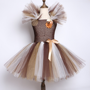 Image 2 - Wild האריה מאנה טוטו שמלת חום פרחי ילדים בנות מסיבת יום הולדת שמלת ילדי ליל כל הקדושים קוספליי בעלי החיים תלבושות 2 12Y