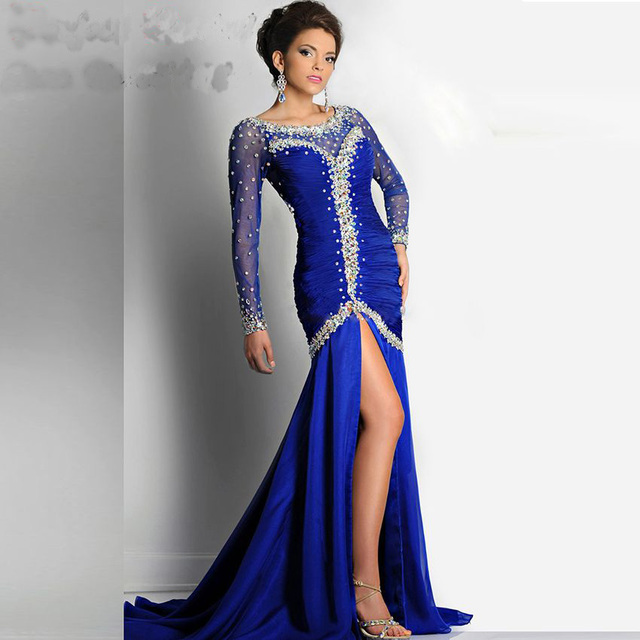 Marineblau Shiny Mermaid Prom Kleider Luxus Chiffon Lange Pageant ...