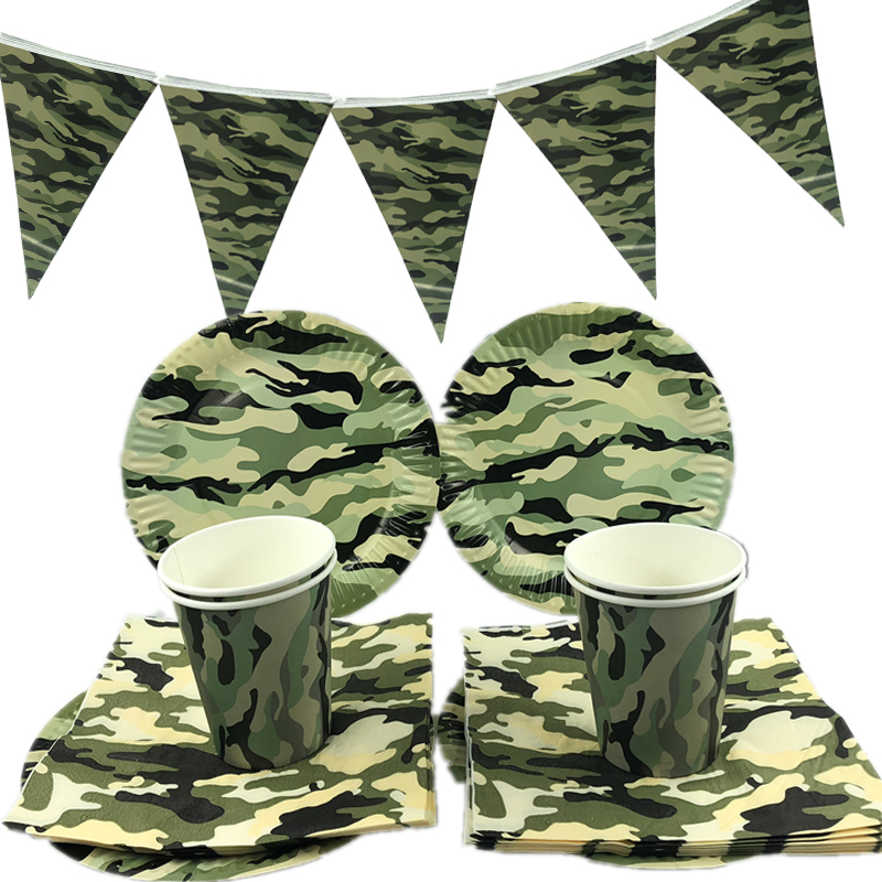 Omilut Camouflage Disposable Plates Cups Camouflage Theme Birthday Party Disposable Tableware Set Kids Birthday Party Decor in Disposable Party Tableware from Home Garden