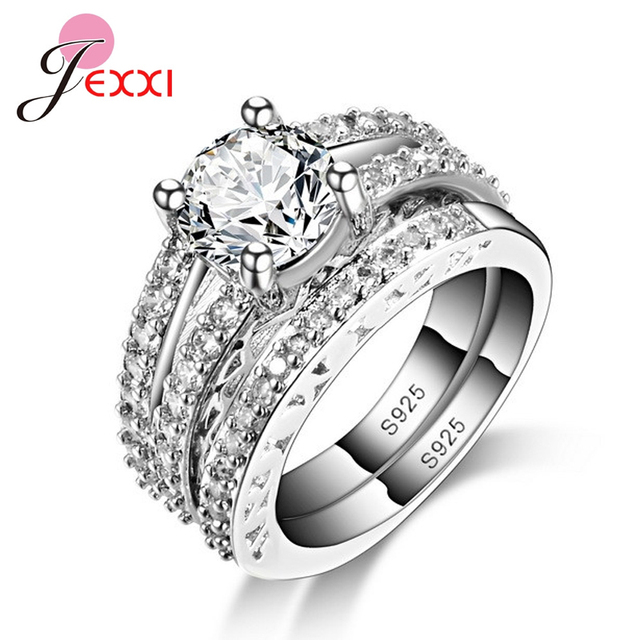 JEXXI Band Jewelry Ring Simple Elegant S90 Silver Wedding Engagement Ring Set Fo