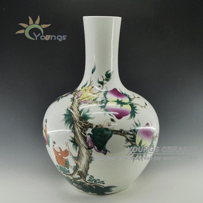 Цзиндэчжэнь 55 см высокие изделия из керамики фарфоровые напольные вазы с шестью рисунками дракона, цветок, персик, дети