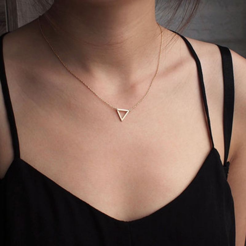 Simple Chains Necklaces Triangle Necklace Delicate Minimal Triangle Necklace For Women Charm Necklace XL008