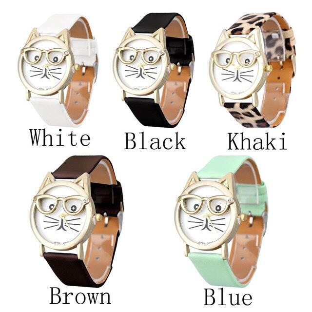5 Unique Colors Adorable Cat Watch With Glasses